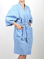 Халат из хлопка для бани и сауны голубой