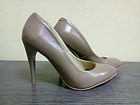 Туфли лодочки кожа темный беж