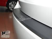 Накладка на задний бампер с загибом Nataniko для Mitsubishi Outlander 2015+ нержавейка+ пленка под карбон