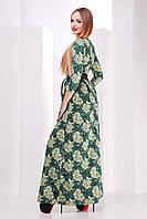 Макси платье зелено-серое, с поясом, трикотаж 42-48