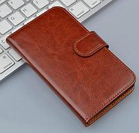 Кожаный чехол-книжка  для Lenovo A1000 / A2800 коричневый