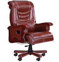 Кресло Монреаль HB Кожа Люкс комбинированная (675-B+PVC). Коричневый