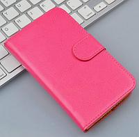Кожаный чехол-книжка  для Lenovo A1000 / A2800 розовый