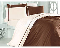 Комплект постільної білизни First Choice Bej Kahve 200-220 см коричневий, фото 1