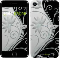 """Чехол на iPhone 7 Цветы на чёрно-белом фоне """"840c-336"""""""