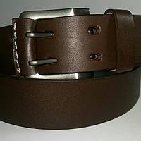 Ремень кожаный катана мужской коричневый гладкий на две дырки 4см.