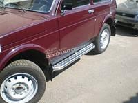 Пороги с листом для Lada 4X4 (Нива 21213) 3двер. пороги из нержавейки с алюминиевым листом D60