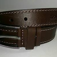 Ремень мужской кожаный катана коричневый со светлой строчкой 4см.