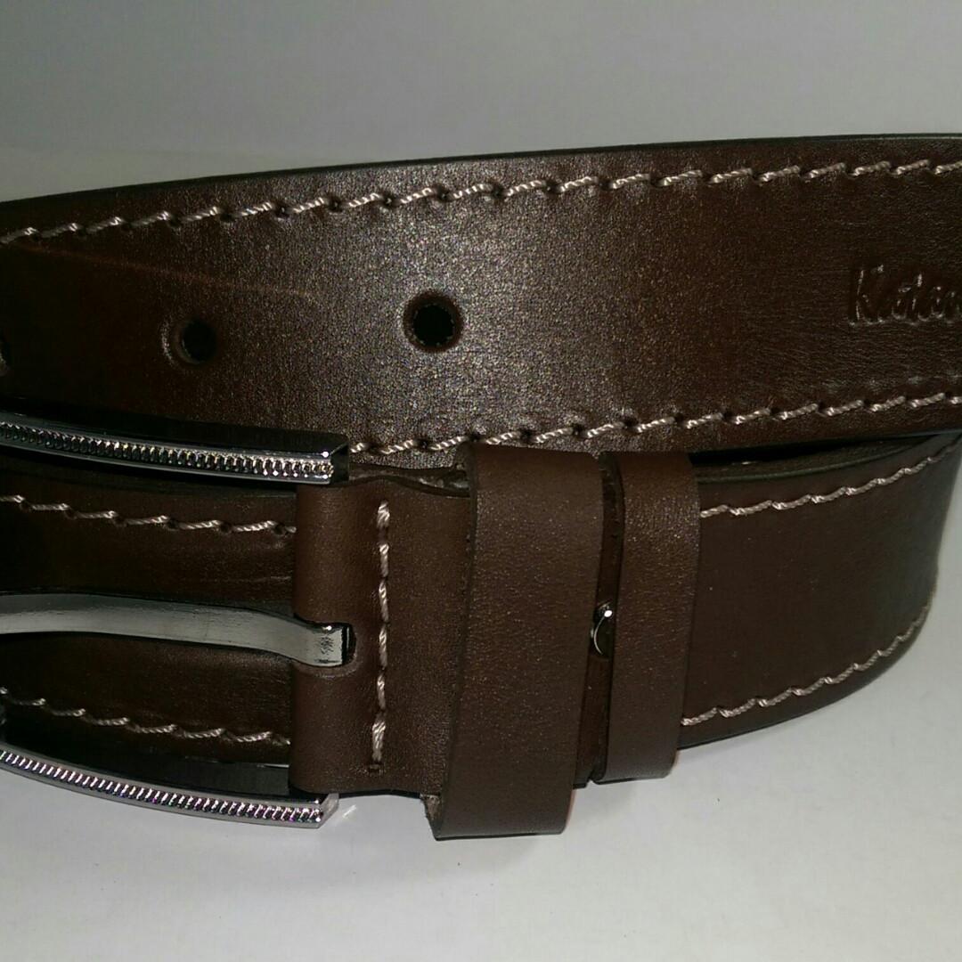 Ремень мужской кожаный катана коричневый со светлой строчкой 4см., фото 1