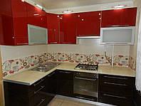 """Кухня """"Красный Зебрано"""" из акрила, фото 1"""