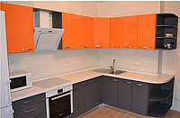 """Кухня """"Сіро-помаранчева"""" з плівкового МДФ, фото 1"""