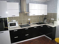 Кухня Original Черный глянец и Белый из пленочного МДФ, фото 1