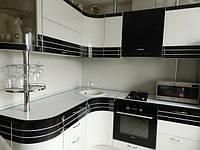 Кухня эконом Белый глянец и шпон «Эбони» из пленочного МДФ, фото 1