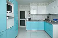 Кухня Белый и Бирюзовый глянец из пленочного МДФ, фото 1