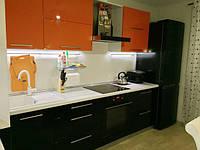 Кухня Черный-Оранж из акрила