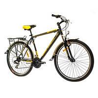"""Велосипед собранный почта 26"""" Optimabikes COLUMB AM 14G  St с багажн. черно-желтый  2015"""