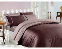 Шоколадный двухсторонний  комплект  постельного белья тм FIRST CHOICE в полоску