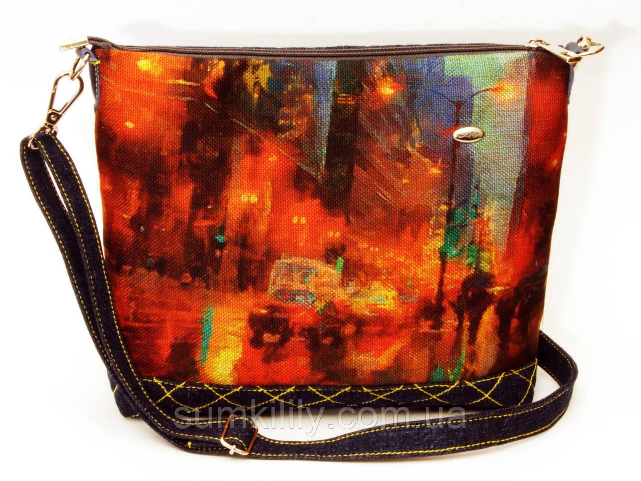Женская джинсовая стеганная сумочка Дождь за стеклом