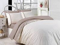 Кремовый однотонный  комплект  постельного белья тм FIRST CHOICE двухсторонний
