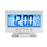 Часы электронные настольные с термометром и подсветкой 8082