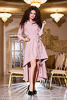 Платье  полу батал трикотаж пудра