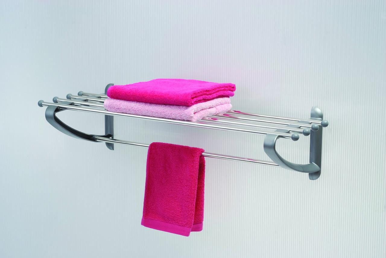 Полку в ванну для рушників 50 см сірого кольору