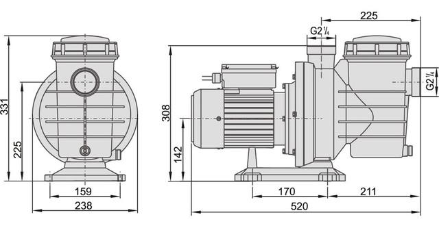 Размеры насоса для бассейна AquaViva LX SWIM075