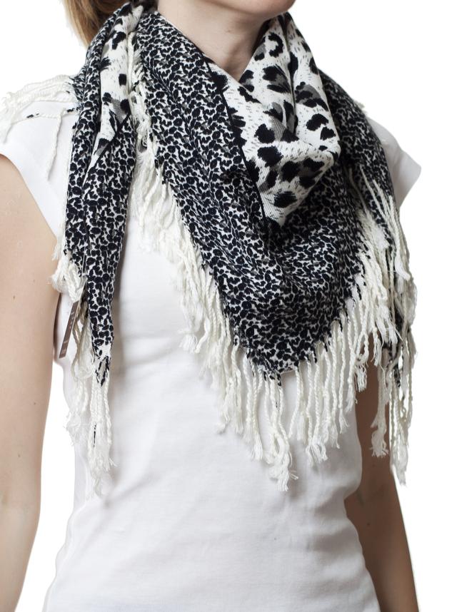 Серый леопардовый кашемировый платок 5