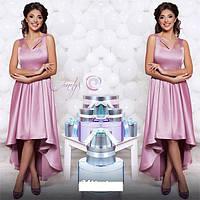 Платье в пол из атласа асиметричное
