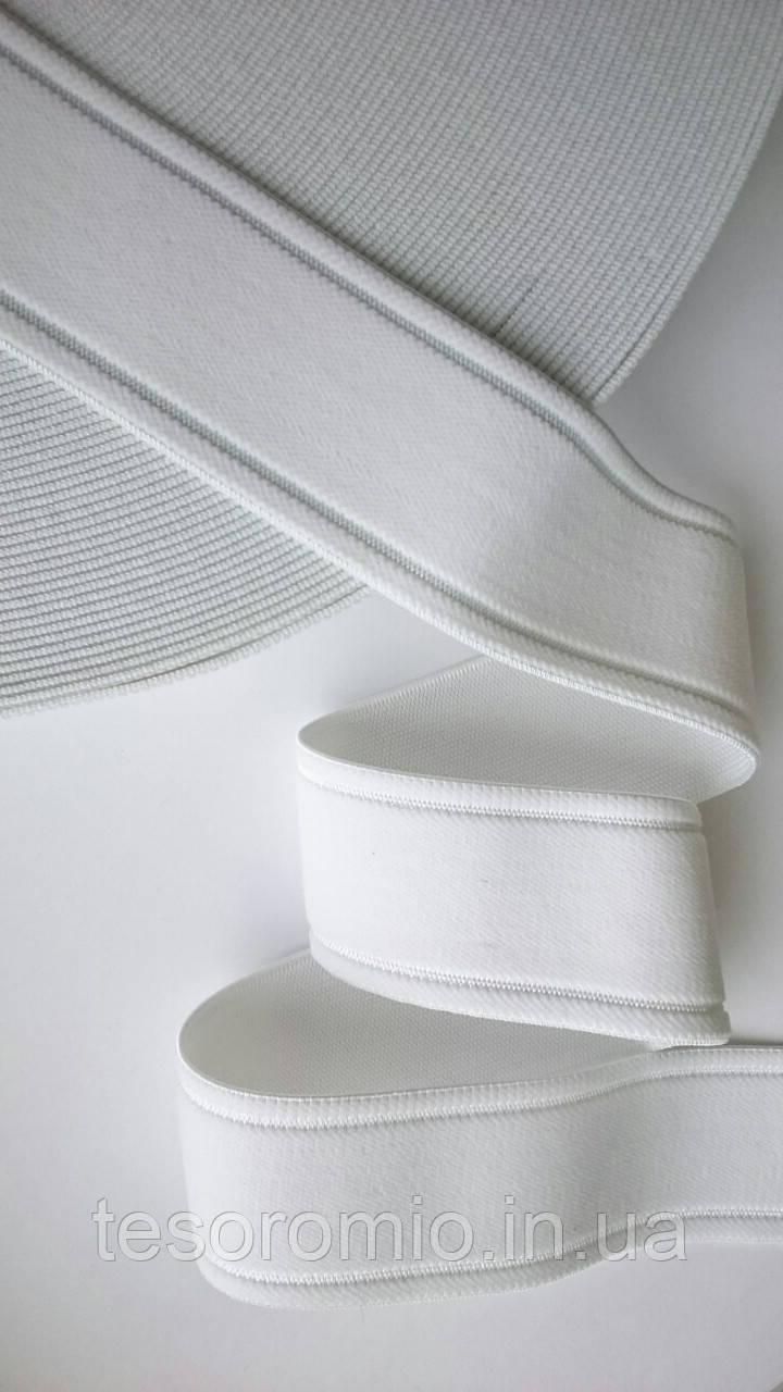 Резинка декоративная 35мм, белая. Мягкая, эластичная.
