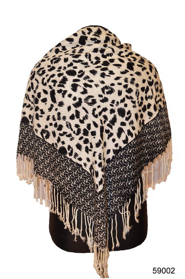 Черно-белый леопардовый кашемировый платок 1