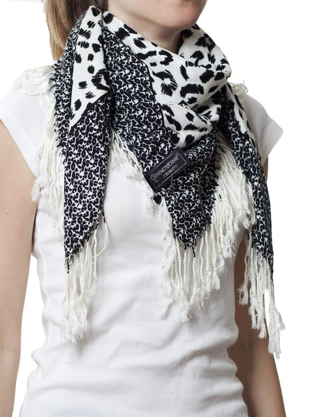 Черно-белый леопардовый кашемировый платок 5