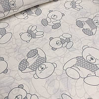 Хлопковая ткань с мишками в серых свитерах №4-425