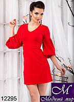 Короткое женское красное платье с пышными рукавами (р. S,M,L) арт. 12295