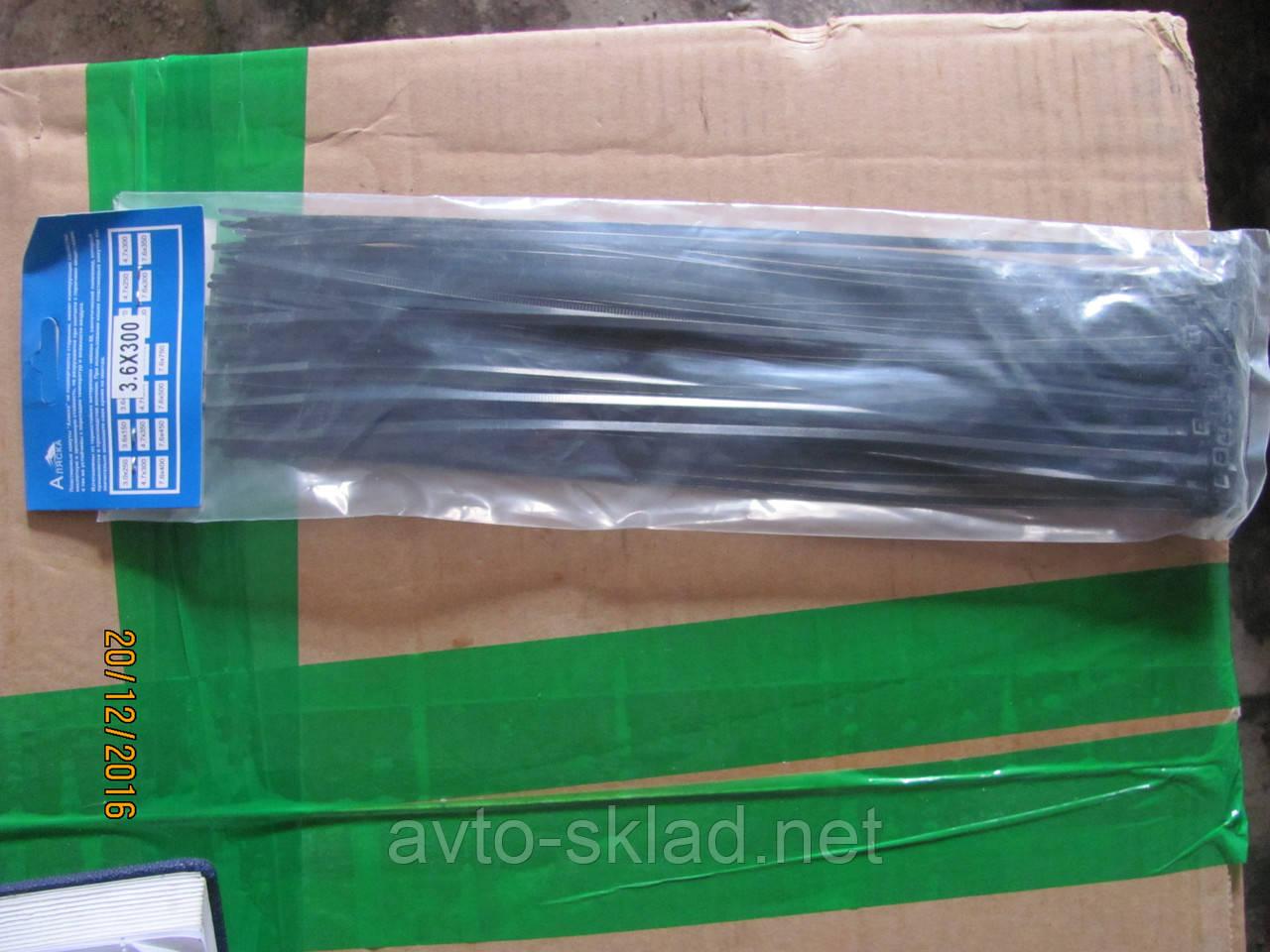 Хомуты пластиковые 300х3,6 (50 шт) черные Аляска
