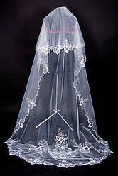 Фата  шлейф свадебная длинная  с ажурной вышивкой. Для стильной невесты