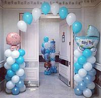 Гелиевая арка со стойками и фольгированными шарами
