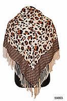 Коричневый леопардовый кашемировый платок, фото 1