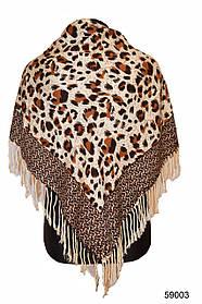 Коричневый леопардовый кашемировый платок