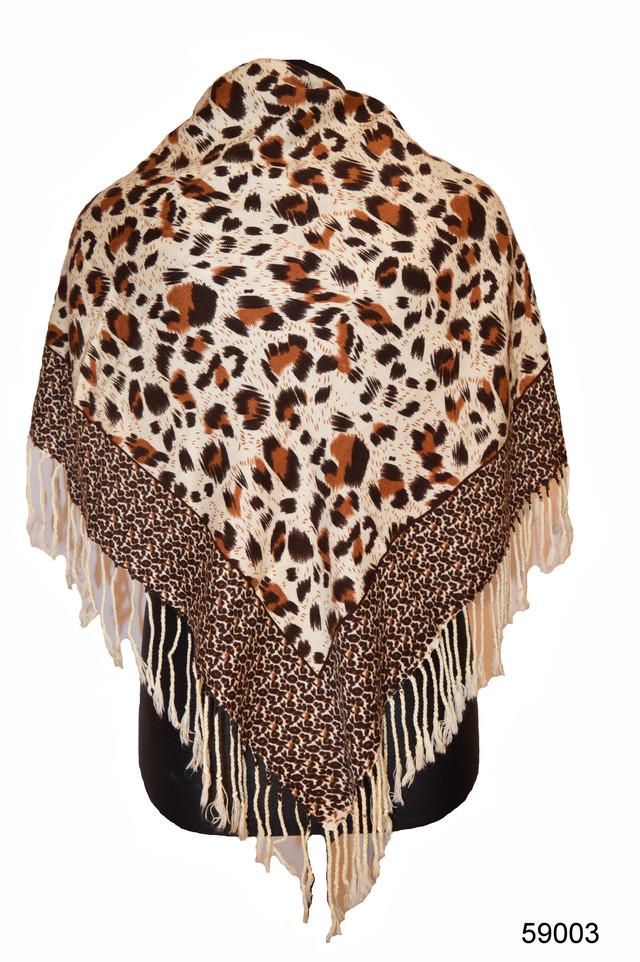 Коричневый леопардовый кашемировый платок 1