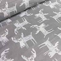 Хлопковая ткань с белыми оленями на сером фоне №046