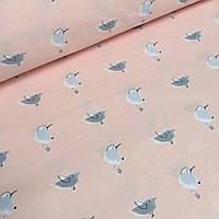 Хлопковая ткань с серыми птичками на персиковом №5-347
