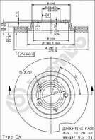 Тормозной диск передний Brembo 09.7196.14 для Audi A4 (8D2, B5) 04.1995-11.2000