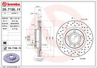 Тормозной диск передний Brembo 09.7196.1X для Audi A4 (8D2, B5) 04.1995-11.2000