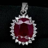 Рубин кроваво-красный, серебро 925, кулон, 132ПР