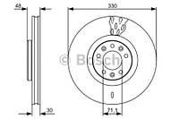 Тормозной диск передний Bosch 986479529 для Peugeot 407 Sw (6E) 09.2005+