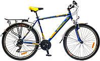 """Велосипед собранный почта 26"""" Optimabikes COLUMB AM 14G    St с багажн. сине-жёлтый  2015"""