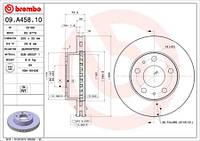 Тормозной диск передний Brembo 09.A458.10 для Fiat Ducato C Бортовой Платформой/Ходовая Часть (250, 290) 01.2007+