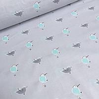 Хлопковая ткань с мятными и серыми птичками на сером фоне №6-347