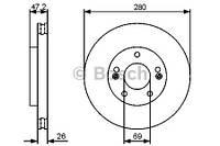 Тормозной диск передний Bosch 986479C13 для Kia Cee'D Sw (Ed) 09.2007-12.2012